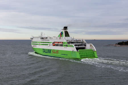 16: Helsinki, Finland-May 16 2014: the TALLINK STAR ferry sails from Helsinki port.Ferries of the TALLINK company enjoy wide popularity at inhabitants of the Baltic States also transport daily a great number of passengers