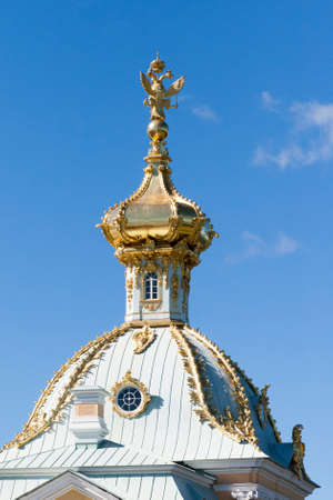 spurt: St. Petersburg, RUSSIA-28 of August, 2016 . palace dome in Peterhof.Peterhof-one of suburbs of St. Petersburg with a large number of ancient fountains Editorial