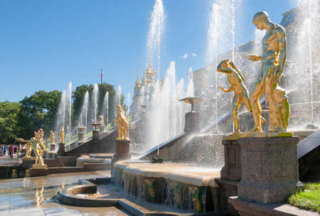 waterfall model: St. Petersburg, RUSSIA-28 of August, 2016. Fountains of the Big cascade in Peterhof. Peterhof-one of suburbs of St. Petersburg with a large number of ancient fountains