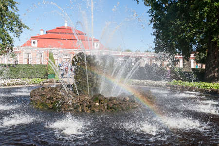 St. Petersburg, RUSSIA-28 of August, 2016. The Monplaisir palace in Peterhof. Peterhof-one of suburbs of St. Petersburg with a large number of ancient fountains