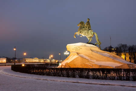 Peter the Great monument in winter, the Bronze Horseman, St. Petersburg , Russia