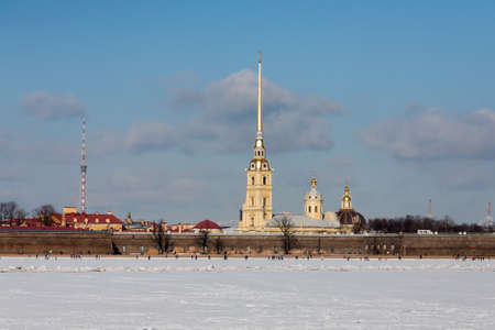Peter and Paul Fortress in winter day