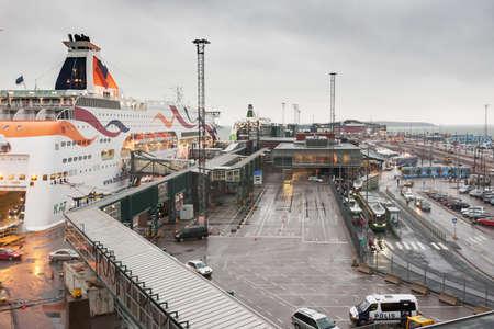 HELSINKI, FINLAND - OCTOBER 25 :the ferry boat TALLINIK is moored at the mooring in port of the city of Helsinki , Finland OCTOBER 25 2016. The ferry TALLINK make regular flights between Helsinki and TALLINN