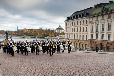 STOCKHOLM,SWEDEN - OCTOBER 26: Changing of the guard ceremony with the participation of the Royal Guard cavalry. October 26,2016 in Stockholm, Sweden.