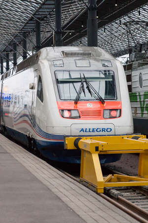 allegro: HELSINKI, FINLAND -OCTOBER 25 :the train Allegro at the station of the city of Helsikii, FINLAND- OCTOBER 25 2016.Trains Allegro make regular transportations between Helsinki and St. Petersburg