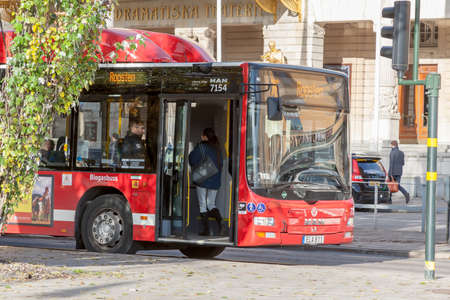 STOCKHOLM, SWEDEN - OCTOBER 26:the passenger bus goes down the street the cities, SWEDEN - OCTOBER 26 2016.In Sweden bus traffic is very developed Editorial