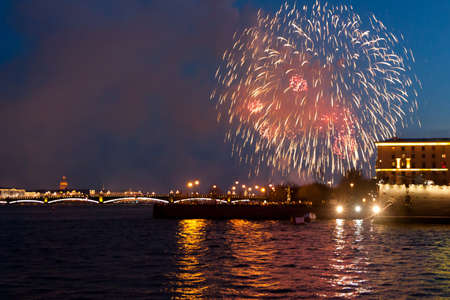 ST. PETERSBURG, RUSSIA - MAY 09: festive salute over Neva,RUSSIA - MAY 09 2017. In St. Petersburg very beautiful salutes are held. Editorial