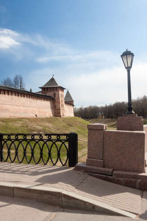 antiquity: VELIKY NOVGOROD, RUSSIA - 13 MAY:The towers of Kremlin fortress , RUSSIA - 13 MAY 2017.Novgorod-ancient Russian city with beautiful architecture