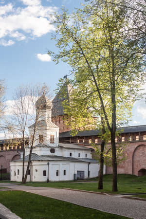 antiquity: VELIKY NOVGOROD, RUSSIA - 23 MAY:The towers of Kremlin fortress , RUSSIA -23 MAY 2017.Novgorod-ancient Russian city with beautiful architecture
