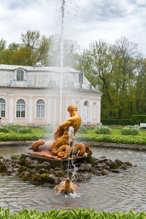 St. Petersburg, RUSSIA-JUNE 03, 2017.The fountain in the park of Petrodvorets. Peterhof-one of suburbs of St. Petersburg with a large number of ancient fountains