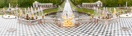 St. Petersburg, RUSSIA-JUNE 03, 2017. Fountains of the Big cascade in Peterhof. Peterhof-one of suburbs of St. Petersburg with a large number of ancient fountains