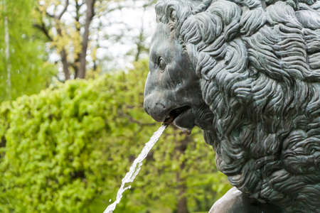 antique vase: St. Petersburg, RUSSIA-JUNE 03, 2017.The fountain in the park of Petrodvorets. Peterhof-one of suburbs of St. Petersburg with a large number of ancient fountains