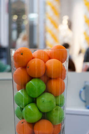 glass with beautiful fruit on a counter, the trading floor Stock Photo