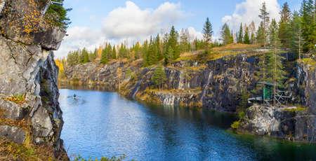beautiful view of a canyon in Ruskeala, Karelia, Russia Stock Photo