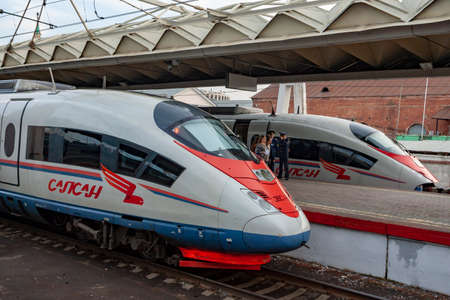 MOSCOW,RUSSIA - MAY 04 2018 : the high-speed passenger train Sapsan on the platform of the Leningrad station. In Russia railway communication is very develop Redakční