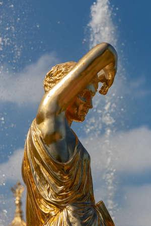 St. Petersburg, RUSSIA-Jule 29 , 2018. Fountains of the Big cascade in Peterhof. Editorial