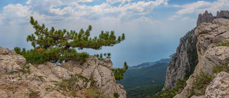 panoramic view of the Caucasus Mountains in clear summer day Stock Photo