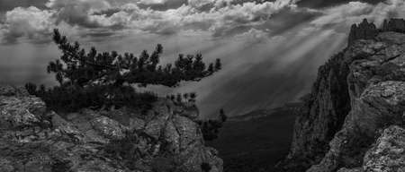 panoramic view of the Caucasus Mountains,black-and-white Stock Photo
