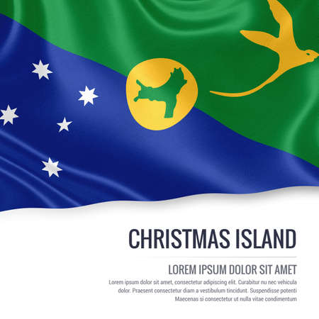 Flag of Australian state Christmas Island waving on an isolated white background. State name and the text area for your message. Stock Photo