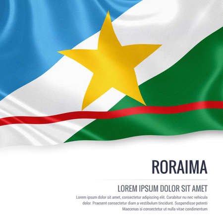 vista: Flag of Brazilian state Roraima waving on an isolated white background. State name and the text area for your message.