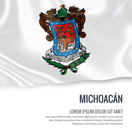 Flag of Mexican state Michoacan waving on an isolated white background. State name and the text area for your message.