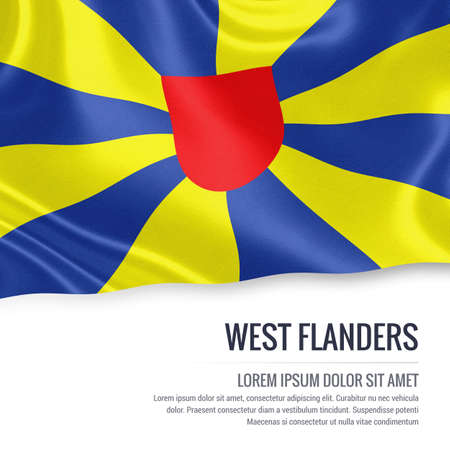 Flag of Belgian state West Flanders waving on an isolated white background. State name and the text area for your message.