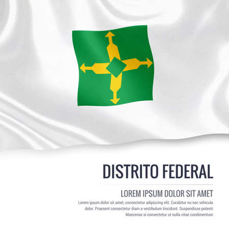 Flag of Brazilian state Distrito Federal waving on an isolated white background. State name and the text area for your message.