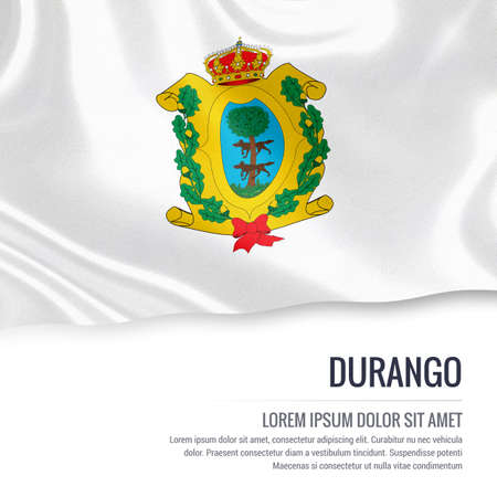 Flag of Mexican state Durango waving on an isolated white background. State name and the text area for your message.