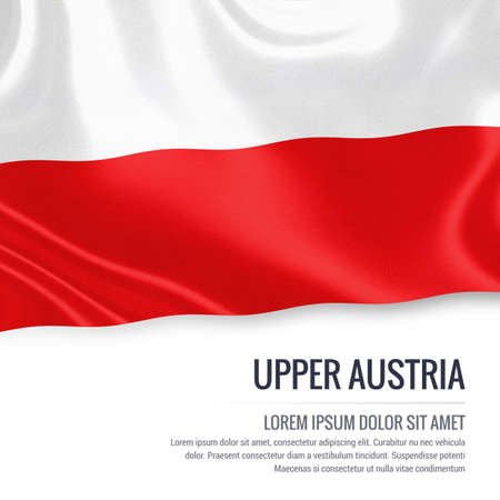 linz: Flag of Austrian state Upper Austria waving on an isolated white background. State name and the text area for your message.