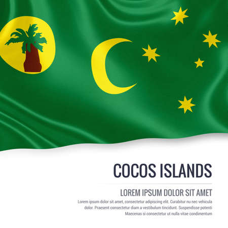 Flag of Australian state Cocos Islands waving on an isolated white background. State name and the text area for your message.