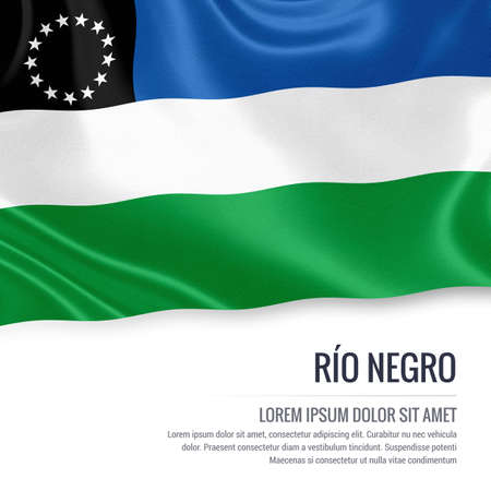 Flag of Argentinian state R�o Negro waving on an isolated white background. State name and the text area for your message.