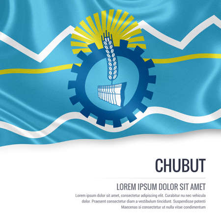 Flag of Argentinian state Chubut waving on an isolated white background. State name and the text area for your message. Stock Photo