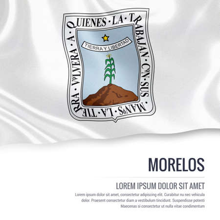 morelos: Flag of Mexican state Morelos waving on an isolated white background. State name and the text area for your message. Stock Photo