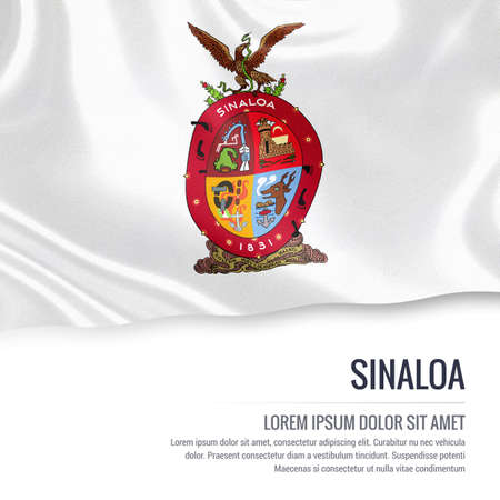 rosales: Flag of Mexican state Sinaloa waving on an isolated white background. State name and the text area for your message. Stock Photo