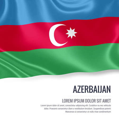 green day baby blue background: Silky flag of Azerbaijan waving on an isolated white background with the white text area for your advert message. 3D rendering.