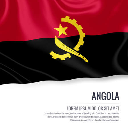 ngola: Silky flag of Angola waving on an isolated white background with the white text area for your advert message. 3D rendering.