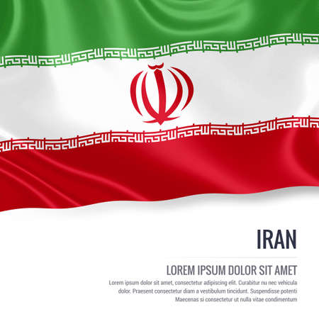 Silky flag of Iran waving on an isolated white background with the white text area for your advert message. 3D rendering. 版權商用圖片