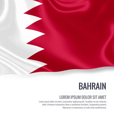 Silky flag of Bahrain waving on an isolated white background with the white text area for your advert message. 3D rendering. Zdjęcie Seryjne