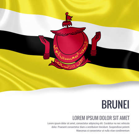 brunei darussalam: Silky flag of Brunei waving on an isolated white background with the white text area for your advert message. 3D rendering.