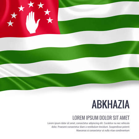sukhumi: Silky flag of Abkhazia waving on an isolated white background with the white text area for your advert message. 3D rendering.