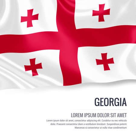 Silky flag of Georgia waving on an isolated white background with the white text area for your advert message. 3D rendering.