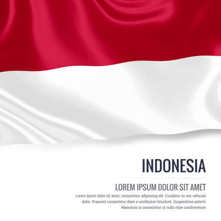 Silky flag of Indonesia waving on an isolated white background with the white text area for your advert message. 3D rendering.