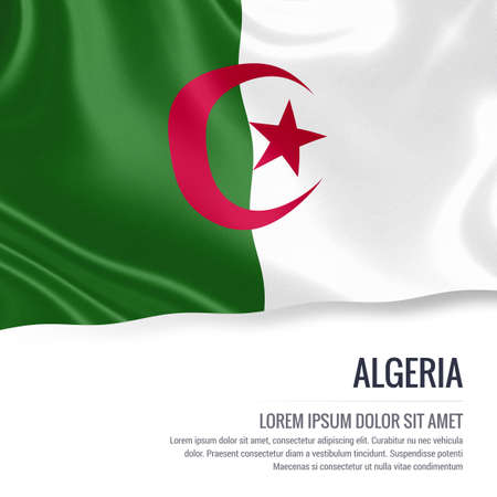 Silky flag of Algeria waving on an isolated white background with the white text area for your advert message. 3D rendering. Stock Photo