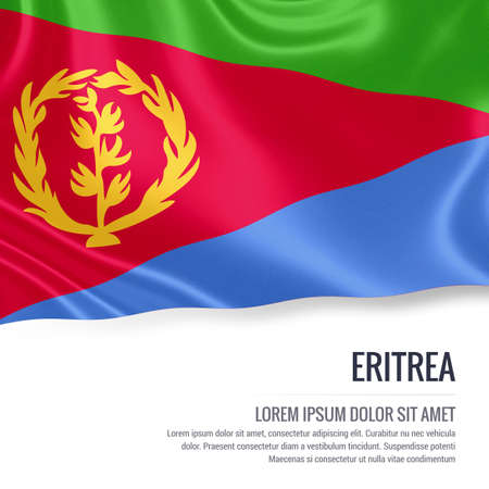 eritrea: Silky flag of Eritrea waving on an isolated white background with the white text area for your advert message. 3D rendering. Stock Photo