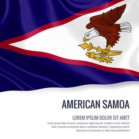 samoa: Silky flag of American Samoa waving on an isolated white background with the white text area for your advert message. 3D rendering.