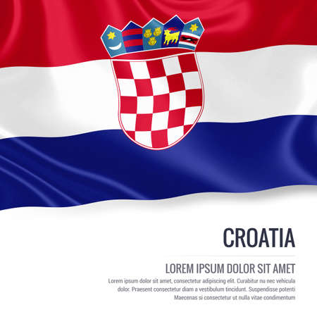 republika: Silky flag of Croatia waving on an isolated white background with the white text area for your advert message. 3D rendering.