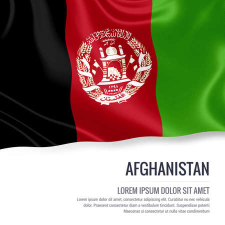Silky flag of Afghanistan waving on an isolated white background with the white text area for your advert message. 3D rendering. Stock Photo