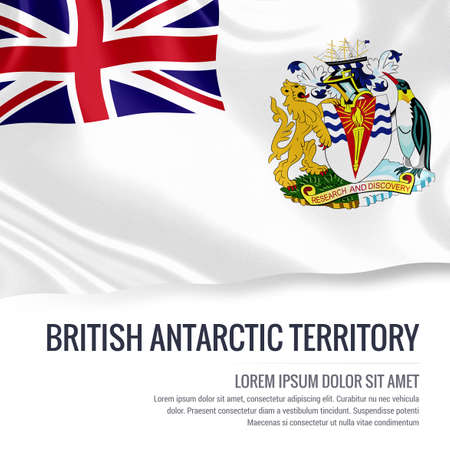 antarctic: Silky flag of British Antarctic Territory waving on an isolated white background with the white text area for your advert message. 3D rendering.