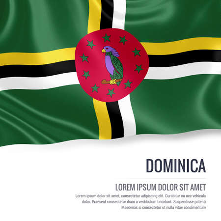 Silky flag of Dominica waving on an isolated white background with the white text area for your advert message. 3D rendering. Reklamní fotografie