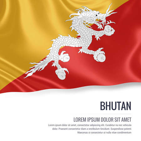 Silky flag of Bhutan waving on an isolated white background with the white text area for your advert message. 3D rendering.